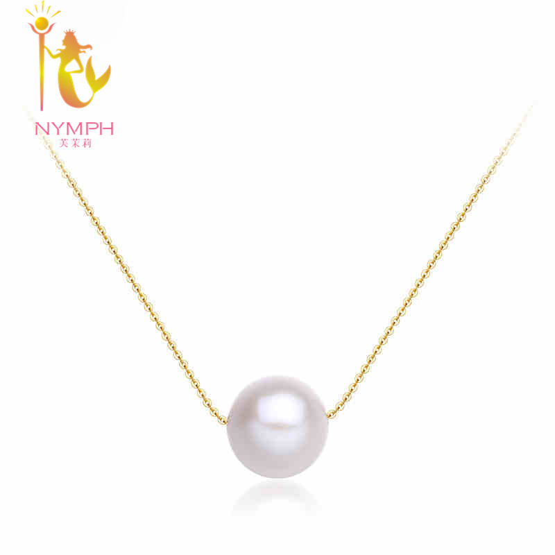 Classic 18K Yellow gold AU750 Necklace, Charms fine pearl jewelry 8-9mm round shape best gift for women N01