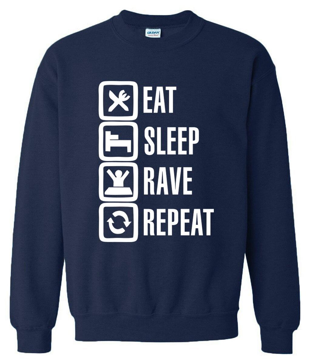 Men's Clothing Instruction Symbol Capless Sweatshirt Men Hip Hop Fashion Autumn Winter Hoodies Men Casual Eat Sleep Rave Repeat 2 Color Clothes