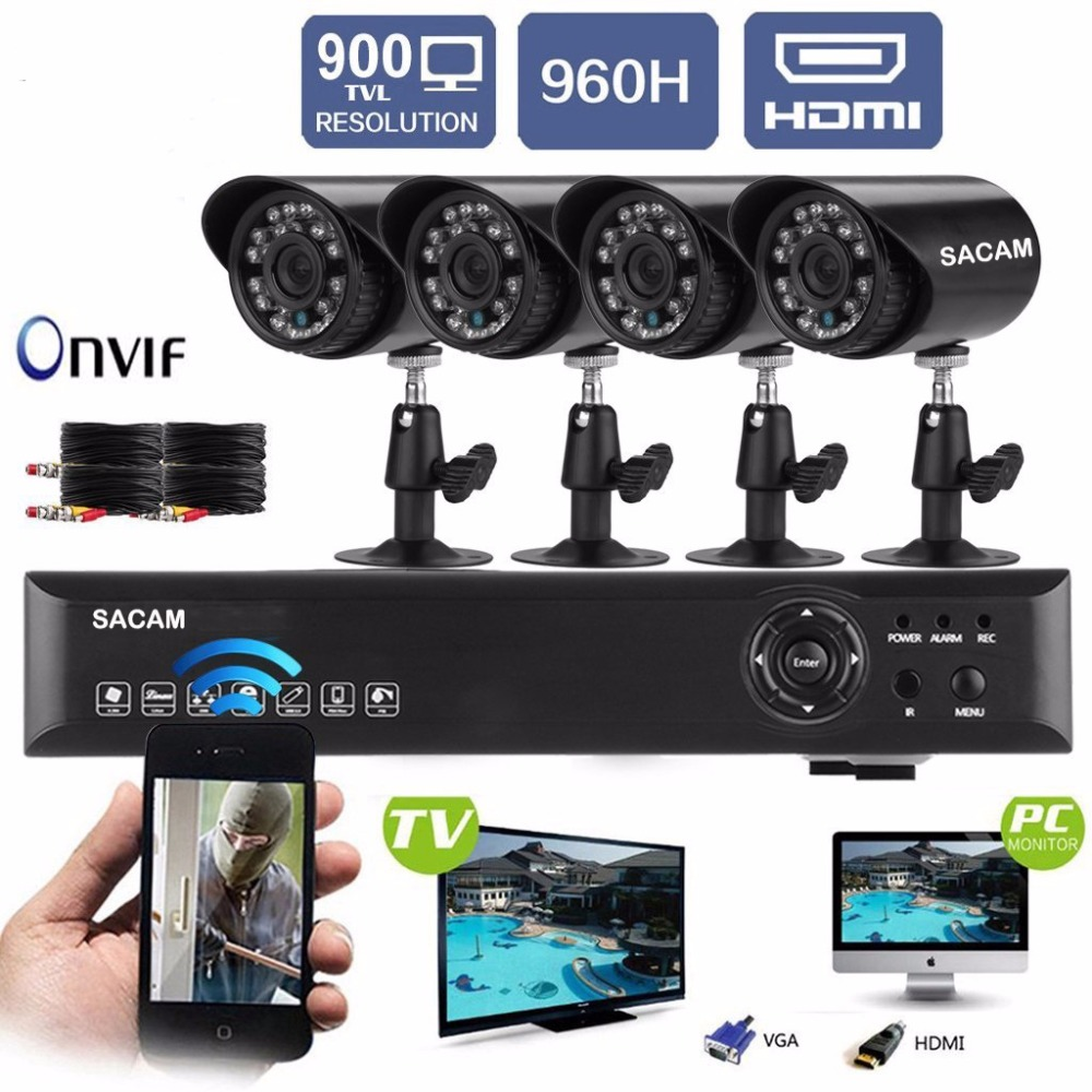 Security Camera System Surveillance Outdoor Camera WiFi Wireless Alarm Systems Security Home 4 AHD Cameras Kit CCTV 960P 8CH DVR ahd 16ch cctv system 1080p hdmi dvr kit 2500tvl outdoor security waterproof night vision ahd 960p 16 cameras surveillance kits