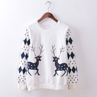 Brand New Deer Sweatshirts Solid Cotton Plus Size Geometrical Sweatshirt Woman Casual Long Sleeve Loose Women