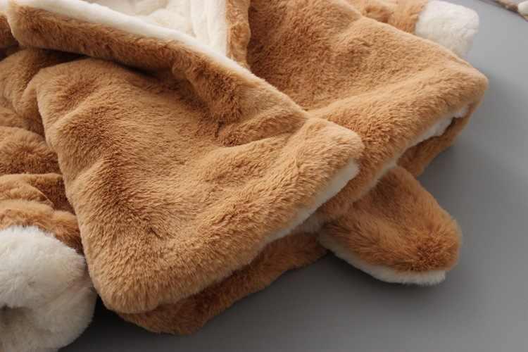 חורף תינוק פו פרווה Parka מעילי ילדי ילד בנות עבה הסווטשרט אוזני זנב חם מעילי מעיל מזדמן ילדי הלבשה עליונה בגדים
