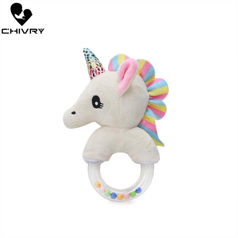 Chivry Cute Baby Unicorn Rattles Toys Plush Baby Cartoon Bed Toys Newborn Baby Handbells Hand Bells Plush Dolls Infant Toys Gift