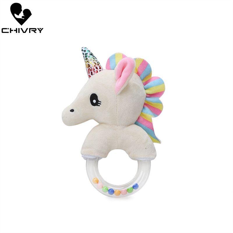 Chivry Cute Baby Unicorn Rattles Toys Plush Baby Cartoon Bed Toys Newborn Baby Handbells Hand Bells Plush Dolls Infant Toys Gift