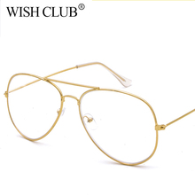 WISH CLUB Women Transparent Lens Glasses Lens Reading Glasses Men Optics Aviator Glasses Female Gold Metal Frame Eyewear