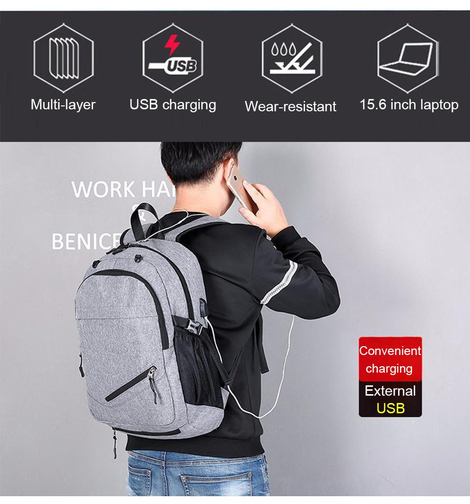 Travel Backpack Student Backpacks Laptop Notebook Back Pack Men Male Waterproof Bagpack USB Charging School Bags For Teenagers (3)