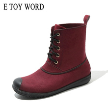 E TOY WORD Spring Autumn Fashion Women's Rain shoes Non-slip lace up adult Rain Boots solid color waterproof boots Rubber Shoes цена 2017