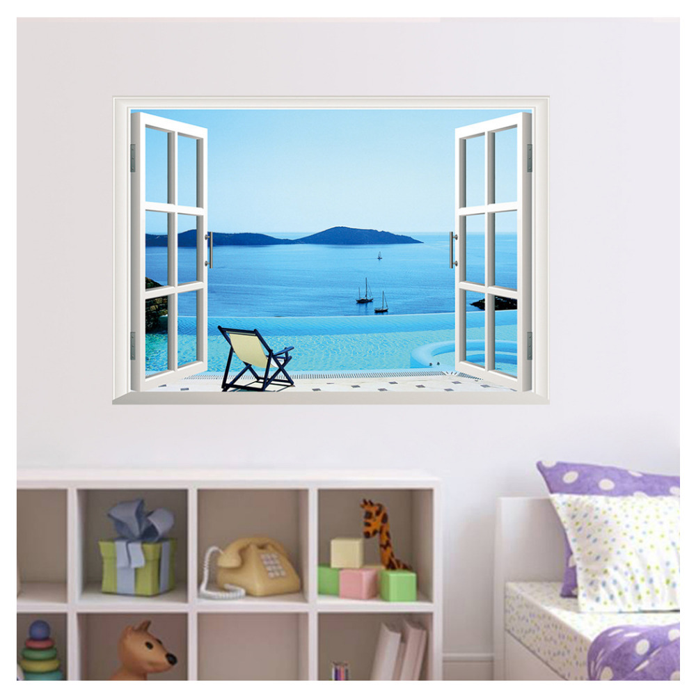 Kuke View Fake Window Seascape Wall Sticker Office Removable Pvc Decals Home Art Waterscape Decor Wallpaper In Stickers From Garden On