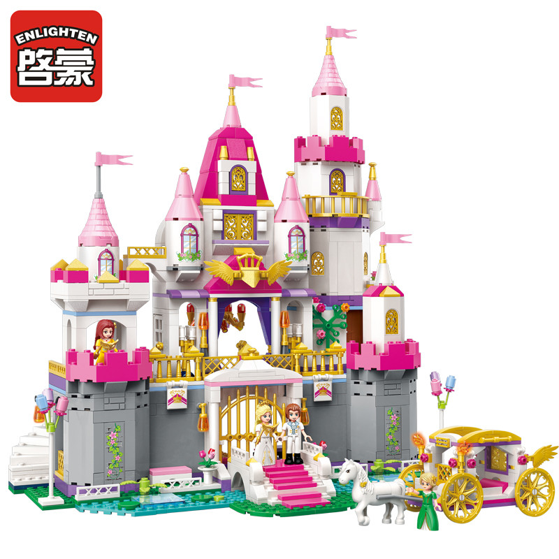 2612 ENLIGHTEN Girls Friends Princess Leah Angel Castle Model Building Blocks Figure Toys For Children Compatible Legoe скатерть angel ya children tsye zb266 88