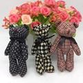 Новый Прекрасный 12 шт./лот H = 12 см Мини Kawaii Фаршированная Объединенная Teddy Bear Doll, DIY Творческий Занавес аксессуары, Решетки Медведь Игрушки