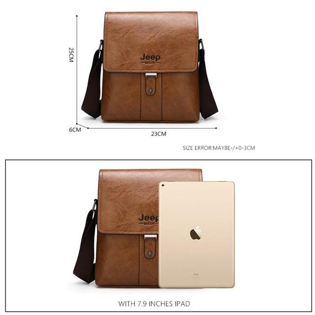 JEEP BULUO Men Shoulder Bag Set Big Brand Crossbody Business Messenger Bags For Man Fashion Casual pu Leather New Hot Salling 1