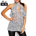 Lanche Printet Richkoko Vestuário Sexy Sleveless Backless Halter Chiffon Blusas Soltas Casual Tops Cut Out Front Sem Encosto Camisas