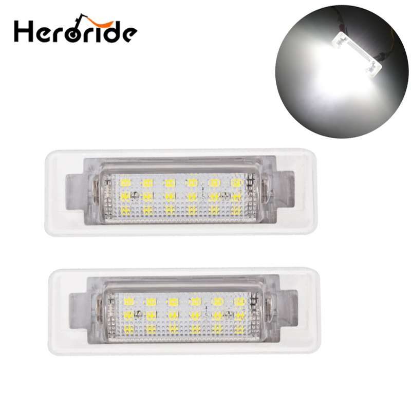 2pcs For <font><b>Mercedes</b></font> <font><b>Benz</b></font> W210 W202 E300 E55 <font><b>C230</b></font> C43 AMG Sedan Facelif License Plate LED Light Canbus No Error White image