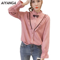 New Preppy Style Blouse For Women 2018 Spring Ladies Sweet Long Sleeve Shirts Stand Bow White