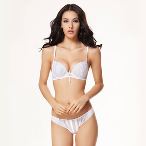 Image 5 - BALALOUM Sexy Women Shell Stripe Rhinestone Push Up Bra Panty Sets Brassiere Underwear Lingerie Set Seamless T Back Thongs Soft