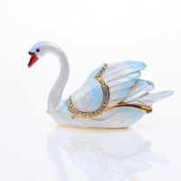 IZODO jewelry blue swan jewelry box tin metal material enamel chromatic pure handmade artware handiwork for valentine's day gift