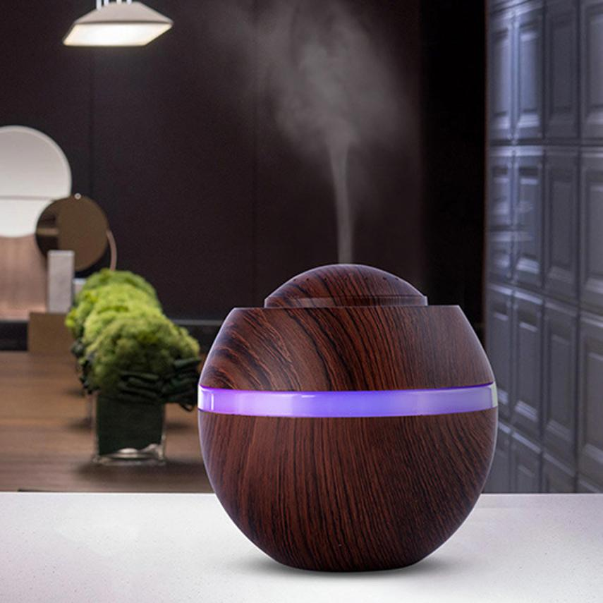 500ML USB Aromatherapy Air Humidifier Wood Grain Mini Desktop Aroma Essential Oil Diffuser with LED Lights Ultrasonic Fogger