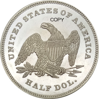 United States Liberty Seated Half Dollars 1842 No Motto Above Eagle Brass Silver Plated Small Date,Small Letters Copy Coin image