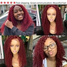 Hair Red Bundles With Closure Burgundy 99J Brazilian Kinky Curly Human Hair 3 Bundles With Closure Non-Remy Red Bundles
