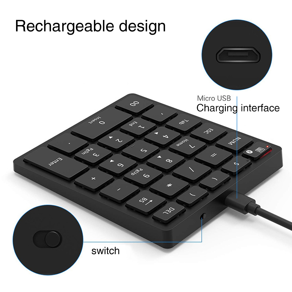 Number Pad Numeric Keyboard Multiple Shortcut Wireless Bluetooth Laptop PC Ergonomic Rechargeable Smartphone Tablet Led 28 Key