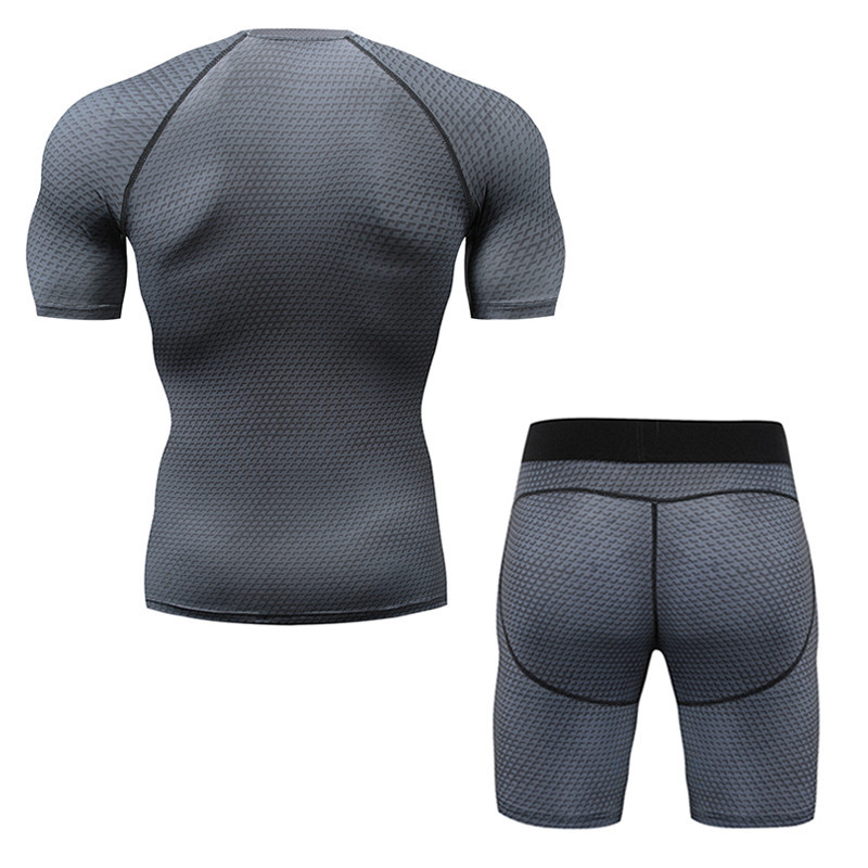 3D men 39 s compression sportswear short sleeved T shirt suit men 39 s gym fitness sportswear jogging pants breathable tights in Men 39 s Sets from Men 39 s Clothing