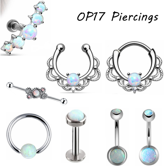 1pc Titanium Steel Opal Stone Septum Nose Ring Opal Ball Closure