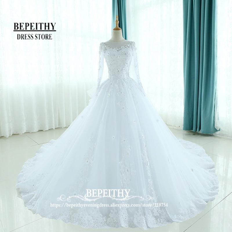 Fesyen lengan panjang gaun bola gaun pengantin sudu ruffles leher kembali vestido de Novias appliques gaun pengantin puteri baru