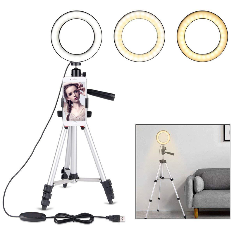 Camera Photo Studio Phone Video LED Beauty Ring Light Photography Dimmable Ring Lamp+Tripod for Selfie/Live Show/Fill in Light