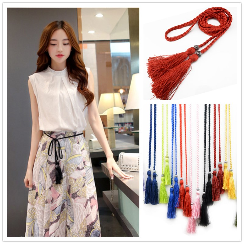 1 PC Women Decorated Waist Chain Ladies Elegant Tassles Belts Female Woven Tassel Waistband 2019 Hot Sale Women Fashion Belt