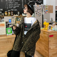Jackets Women Pockets Leisure Daily Ulzzang BF Single Breasted Leopard Long Full Jacket Womens Soft Korean Style Outerwear New