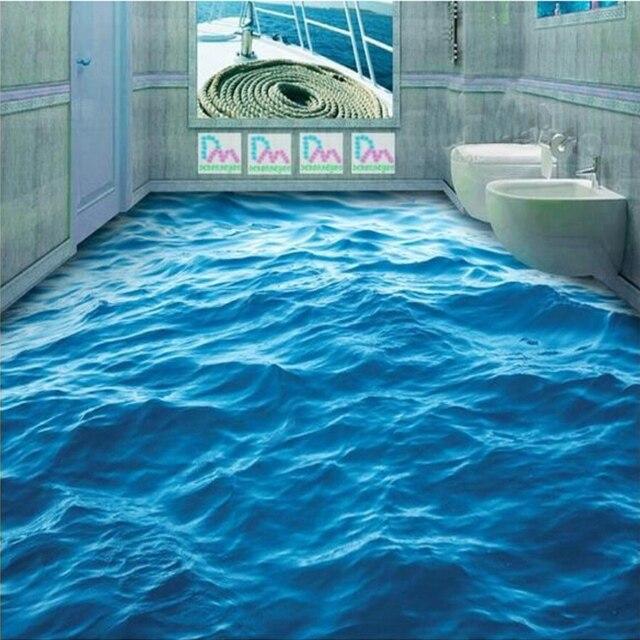 Tùy Chỉnh Tầng Giấy Dán Tường 3D Lập Thể Sóng Biển Bức Tranh Tường Phòng Khách Phòng Tắm PVC Tự Dán Chống Thấm Nước Tầng Giấy Dán Tường Cuộn