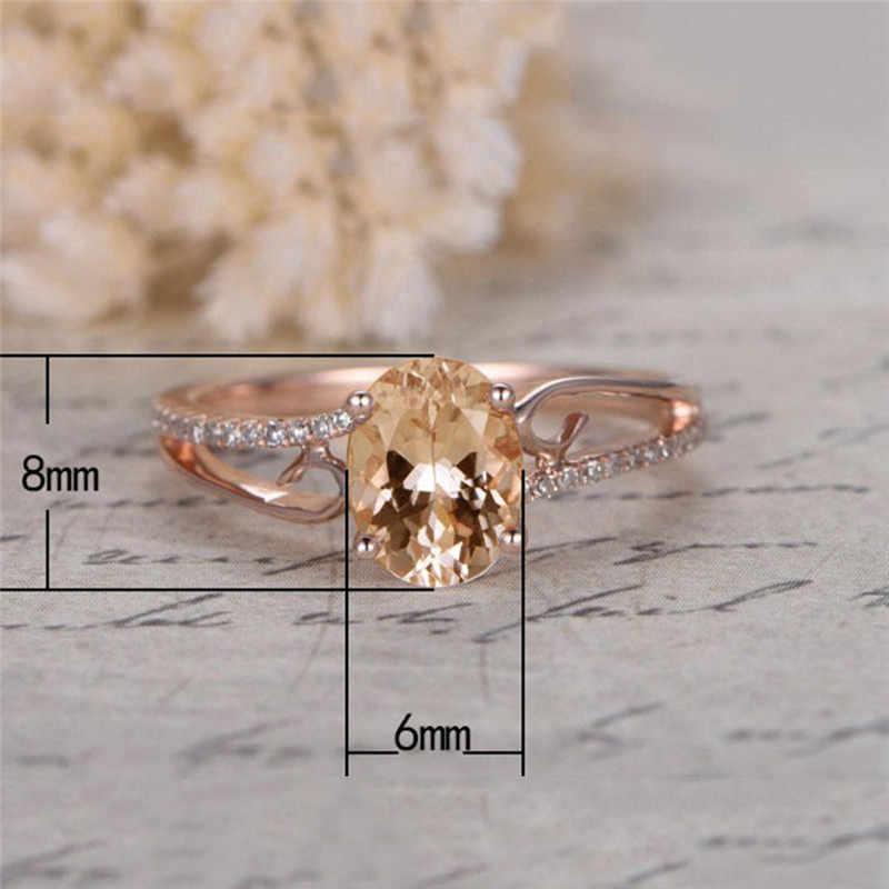 Luxo Big Oval Anel Moda Rose Gold Filled Jóias AAA Zircon Pedra Anéis Para As Mulheres Jóia de Cristal Faixas de Casamento Do Vintage d3