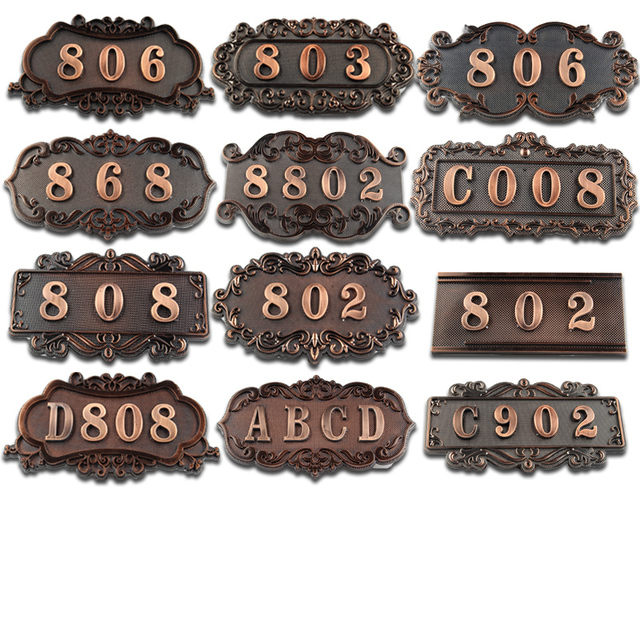 European Door Number Sticker Antique Copper House Number Sign 3 To 4 Numbers Hotel Door Plate Customized  Plastic Numbered Tags