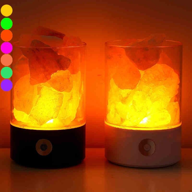 USB Night Light Himalayan Crystal Rock Salt Lamp Air Purifier Night Lights Home Office Decor @8 WWO66