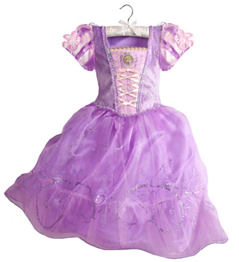 2019 Meninas Vestido Cinderela Belle Traje para As Crianças Rapunzel Sofia Princess Dress Crianças Vestido de Festa Traje Cosplay Vestidos
