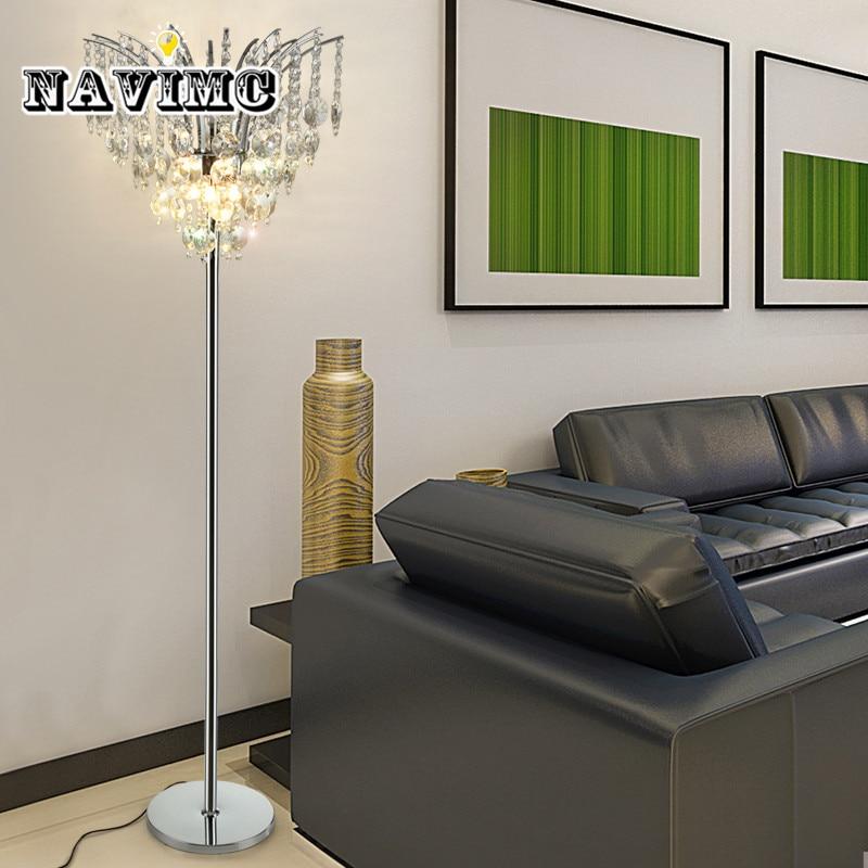 Light luxury LED floor lamp simple modern crystal floor ...