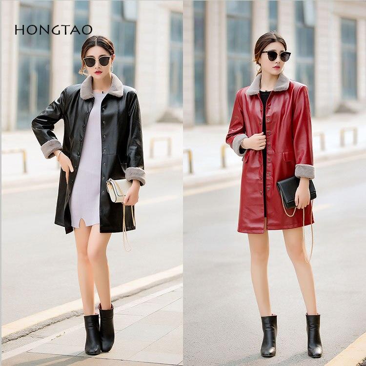 SWYIVY Women Jacket Coat Mid Long Winter Warm Fur Outwear 2018 Autumn Winter Female Fashion PU Leather Coat Velvet Warm Jacket