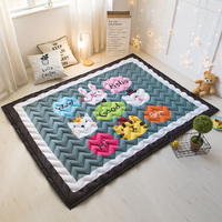 Cartoon Rug Quilted Area Rug Thick Mat Tatami Mat Kids Room Play Crawling Carpet Rectangle Rugs and Carpets for Home Living Room