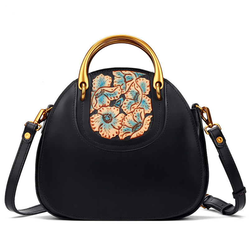 Women Lady Genuine Leather Handbags Hand-made Carving Flowers Handbag First Layer Cowhide Party Business Versatile Black Bag qiaobao women general genuine leather handbags tide europe fashion first layer of cowhide women bag hand diagonal cross package