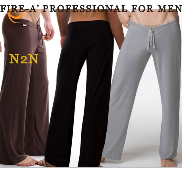 Quality Famous Brand Smooth Loose Low waist Suit  Sleep Bottoms for Man Slim Gymnastics Men's Underpants Home Pants  #2888