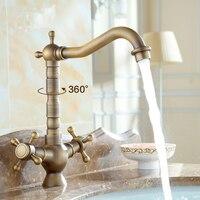 Art Bathroom Basin Faucet Vintage Brass Retro Toilet Basin Faucet Hot And Cold Antique Copper Brushed