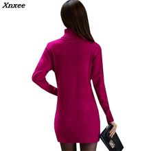 Women Turtleneck Sweater Dress New Autumn Winter Slim Pullovers Knitted Dresses Female Casual Mini Knitwear Vestidos Robes Xnxee 2017 new autumn women midi sweater dress 3 color warm slim dresses elastic side split ripped knitted winter robes vestidos xh631