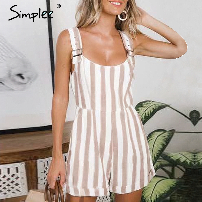 Simplee Casual striped women playsuits Adjustable strap cotton linen jumpsuits Vintage summer khaki female short overalls   romper
