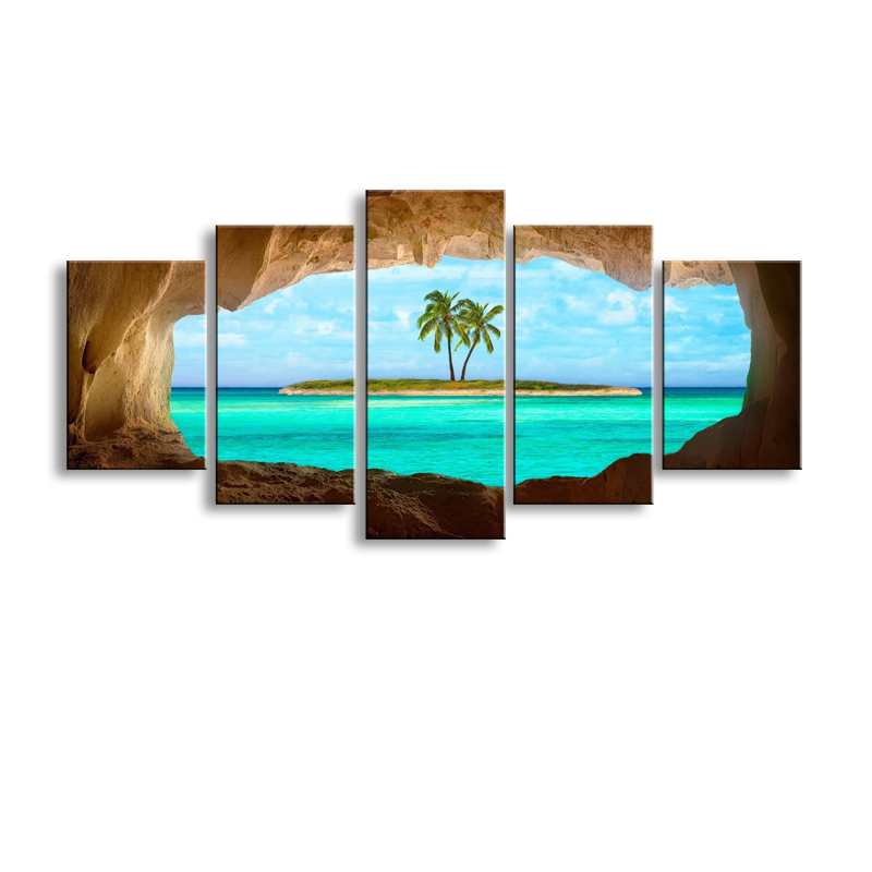 5 pieces high-definition print Caribbean island canvas painting poster and wall art living room picture HaiD-006