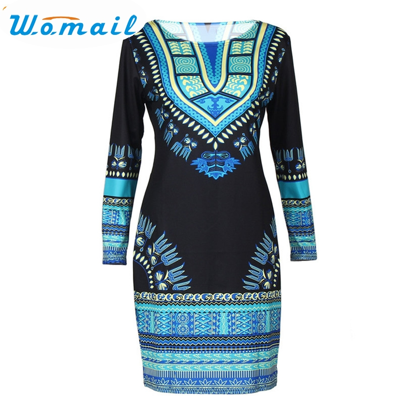 Womail Newly Women Fashion Summer Traditional African Dashiki Print Round Neck Bodycon Sexy Long Sleeve Skinny Mini Dress 160725