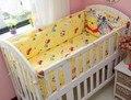 Promoção! 6 PCS Winnie berço cama de algodão conjunto de cama berço do bebê adesivos, Incluem ( pára choques + folha + travesseiro )