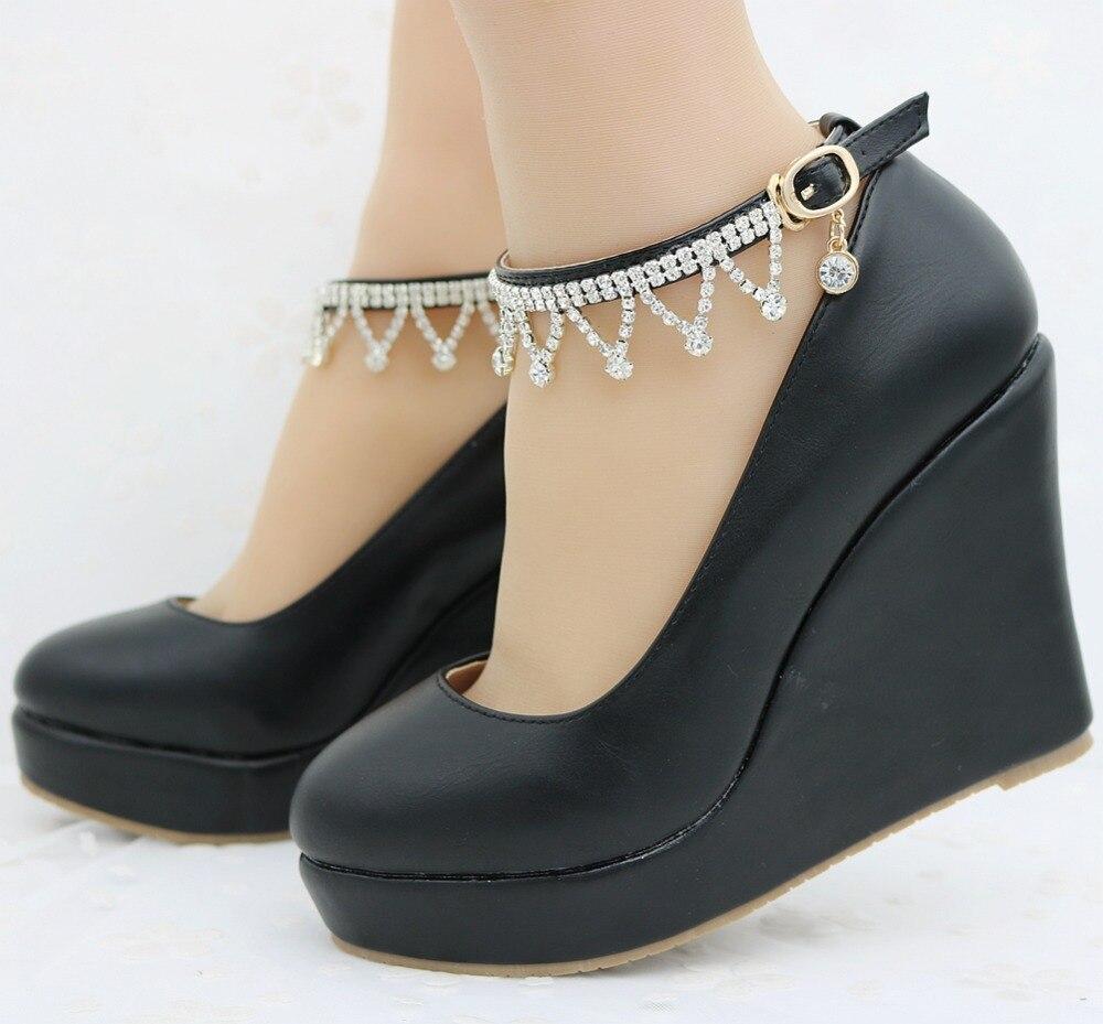 Talons Chaîne white Haute Noir Black forme Pour Plate Blanc Chaussures Bout Loisirs De Mode Pompes Coins Rond Femmes T1cu5F3lKJ