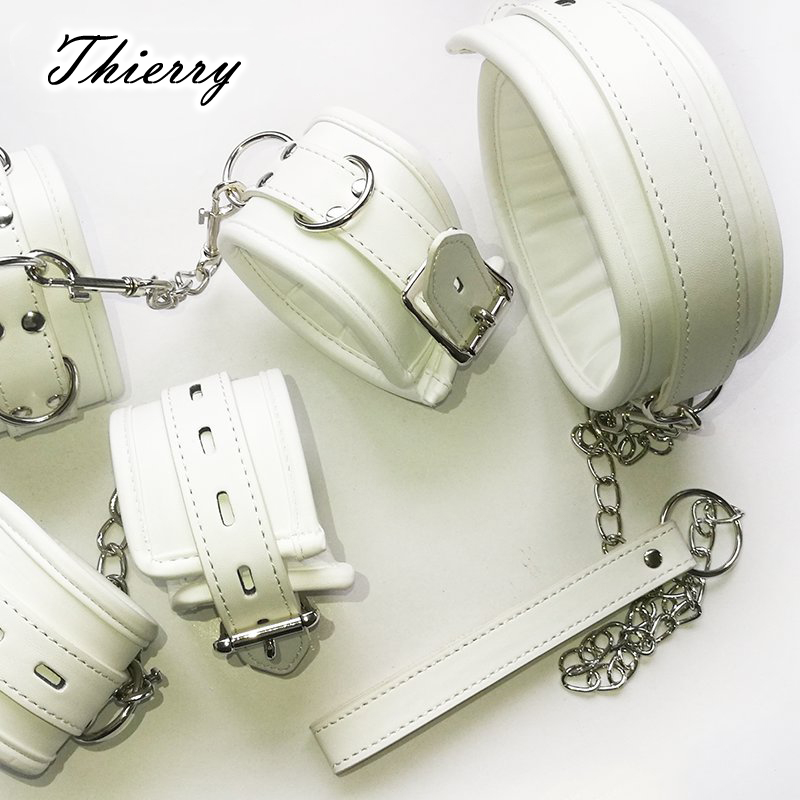 Thierry Luxury Soft White Bondage Restraints Handcuffs Collar Wrist Ankle Cuffs For Fetish Erotic Adult Games Couple Sex Produc