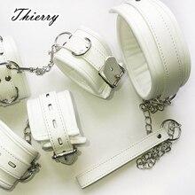 Thierry Luxury soft white Bondage Restraints handcuffs collar wrist ankle cuffs