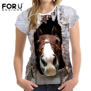 FORUDESIGNS 3D Horse Print T Shirt Women Elastic t-shirt Brand Feminine Shirts Animal Soft Bodybuilding Slime Tops Ropa Mujer