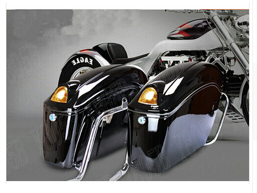 Black Motorcycle Hard Saddlebag Trunk Bag Luggage Tail Light Rail